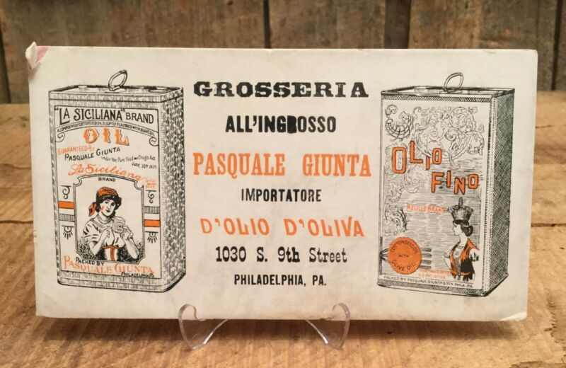 Antique Early 1900s GROSSERIA Imported Olive Oil Advertising Blotter Unused PA