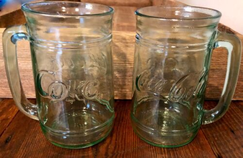 1 Vintage COKE COCA COLA Heavy Glass Mugs w Handle 16 oz Raised Lettering