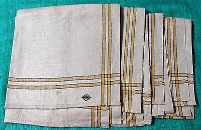 Antique 4 Large Linen Kitchen Towels Black & Yellow Stripe Unused USSR Labels