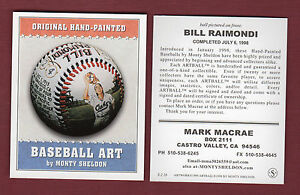 Sheldon-BASEBALL-ART-card-16-BILL-RAIMONDI-Oaks-PCL-Advertising-Promotional