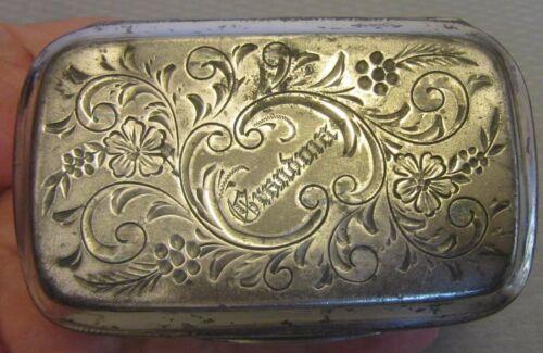"19C Victorian antique SILVERPLATE BOX engraved ""GRANDMA"" trinket dresser vanity"