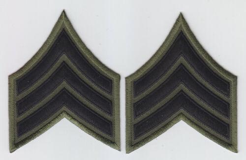 "SGT Sergeant Chevrons BLACK on OD GREEN 3"" X 3.75"" police/sheriff cut edge"