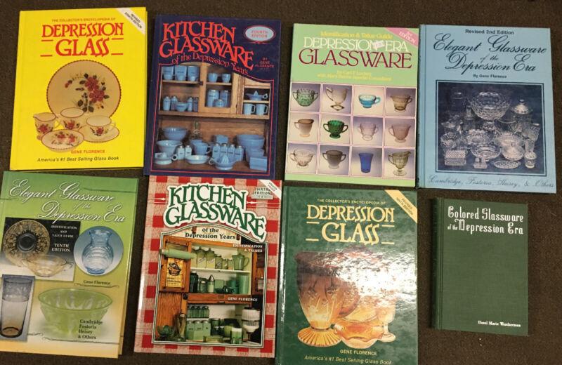 Lot Of 8 Books About Depression Era Glassware