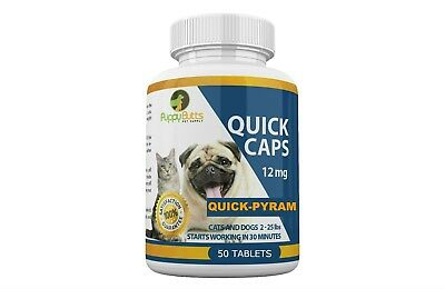 50 Tablets Quick Caps Flea Killer For CATS and DOGS 2-25 Lbs. 12Mg Quick Results