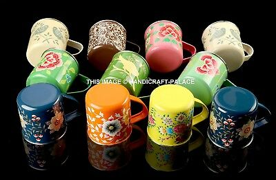 5 PC Wholesale Lot Stainless Steel Mug Indian Beer Mug Coffee Mug Hand Painted
