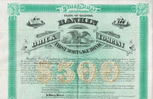 USA RANKIN BRICK COMPANY  stock certificate/bond 1892 ILLINOIS