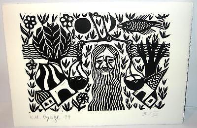 KARL HEINZ GRAGE Original Holzschnitt - Signiert und Limitiert Kunst (K16)
