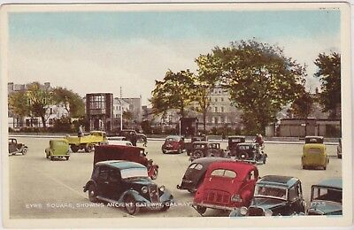 EYRE SQUARE - ANCIENT GATEWAY - OLD CARS - GALWAY - IRELAND - POSTCARD