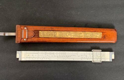 Vintage Keuffel Esser 4088-3 Polyphase Duplex Slide Rule Leather Case Surveying