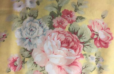 "Summer Valance Yellow Shabby Chic Rose Way Window Cotton fabric 43""W x 15""L"