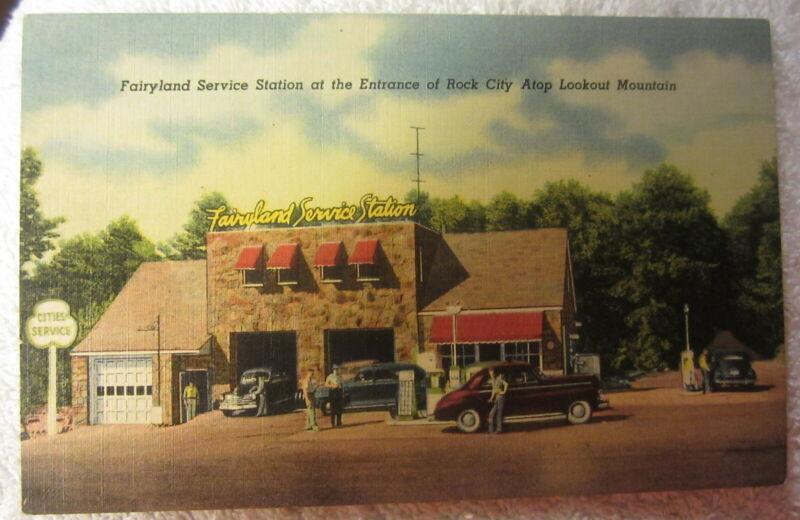Cities Service gas Ad PROMO Card Fairyland Service Station Rock City TN Vintage