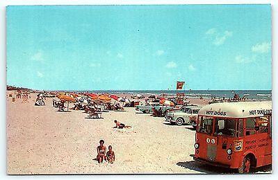 Postcard FL Daytona Beach Beach View Hot Dog Bus Food Truck 1950's Old Cars