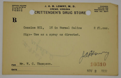 Cocaine Prescription Pharmacy Drug Virigina 1937 Antique 1900s Ephemera