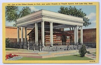 Old house preserved in Temple Square, Salt lake city.  Postcard  C283