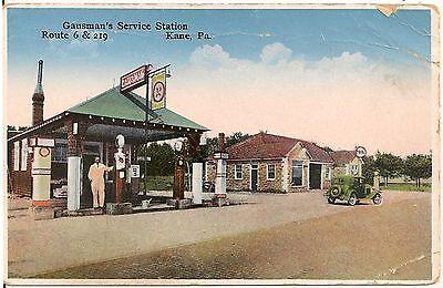 Gausman's Service Station in Kane PA Postcard Gas Pumps