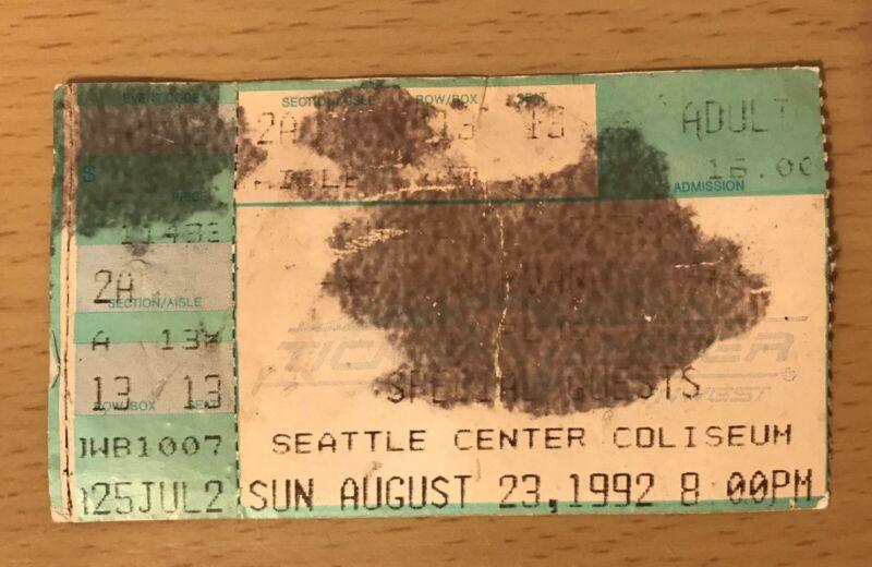 1992 NIRVANA SEATTLE CONCERT TICKET STUB NEVERMIND TOUR KURT COBAIN IN UTERO