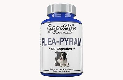 50 CAPSULES GoodLife Flea Killer For DOGS 25-125 Lbs. 57 Mg Quick Results!