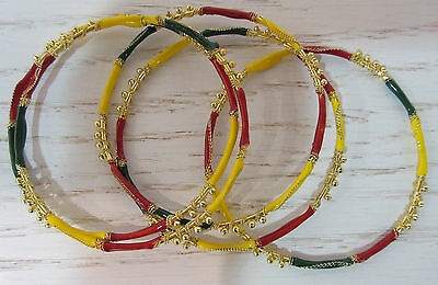 Wholesale Lot 4 Bangle Bracelets Rasta Gold Red Yellow Green African Art NWT W10