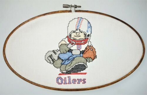 Houston Oilers Football Vtg NFL Cross Stitch Needlework Oval Frame 9x6 Man Cave