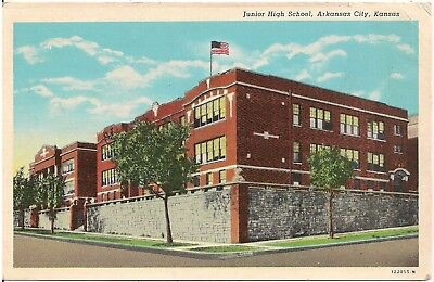 Junior High School in Arkansas City KS Postcard