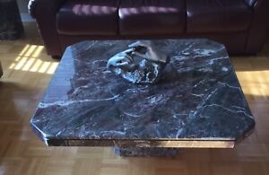Solid marble table and 2 side tables.