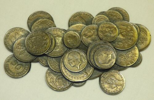 Vtg Pile of Coins Metal Paperweight European Countries France UK Germany Spain +
