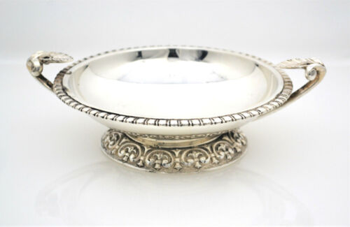 #8212- Vintage Conquistair Mexico - Heavy Sterling Silver Footed Dish - Handles