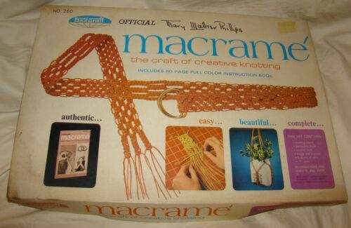 Vtg Macrame Kit 1970 ORIGINAL Box Skilcraft #250 Mary Walter Phillips Book