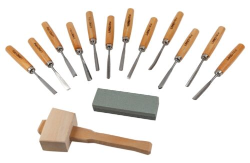 PULI CRAFT 14 piece Wood Carving Tool Set - 12 chisels Wood Mallet Sharpening St