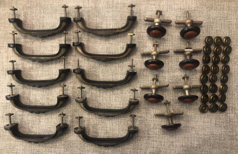 "17 Rare Vtg Bakelite Drawer Handle Pull Knob Black Butterscotch 4.5"" Antique"
