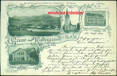 AK 1897 - NIEDERGRUND Gruss aus - Tollenstein Tannenberg  gelaufen und frankiert