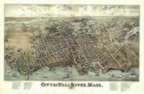 1877 FALL RIVER MASSACHUSETTS BRISTOL panoramic map GENEALOGY poster ma30