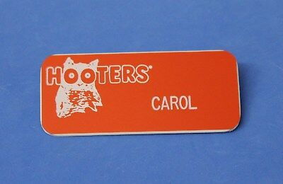 "Hooters Restaurant ""CAROL"" Orange Girl Name Tag / Pin -  Waitress Pin"