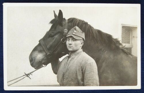 WWI Real Photo Post Card of German with Horse