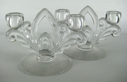 Cambridge Wildflower Clear 2 Candlesticks Candle Holder Etched Flowers