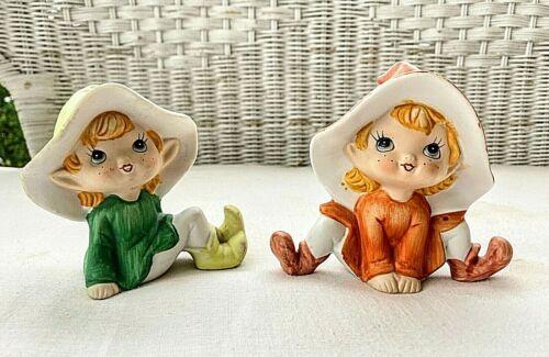 Vintage Homco Ceramic Pixies, Elves, Imps, Fairies, Set of 2