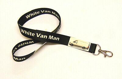 WHITE VAN MAN printed neck strap lanyard for ID, keys etc. 20mm Hand made in UK.