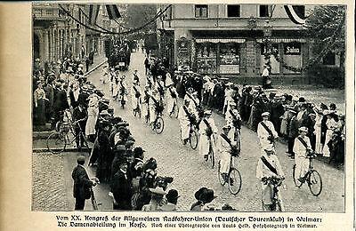 Vom 20. Kongreß der Allgemeinen Radfahrer-Weimar-Damen- Zeitungsausschnitt 1906