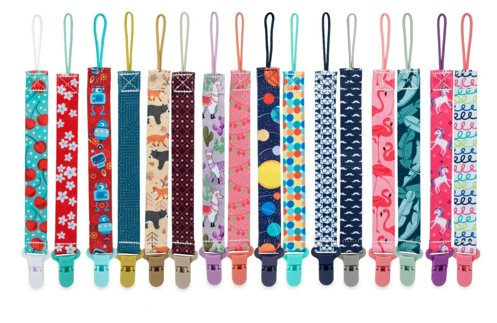 Nuby Printed Cloth Pacifinder Clip - 2 Pack - 0+ Months - Bo