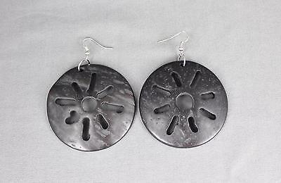 "Black earrings plastic shell cut out medallion disc sun burst pattern 3"" long"