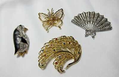 Costume Jewelry Pins, Brooches - Group of 4 - Costumes Group Of 4
