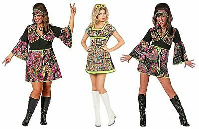 Hippiekostüm 70er 80er Jahre Kleid Kostüm Flowerpower Damen Hippie Party Disco (Disco Kostüme Damen)