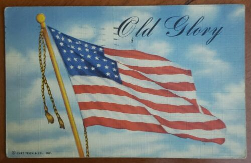 Old Glory Military Postcard by Teich & Co. - Original