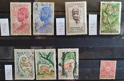 Ivory Coast 1936-63 8 stamp selection USED(4) MH(4)