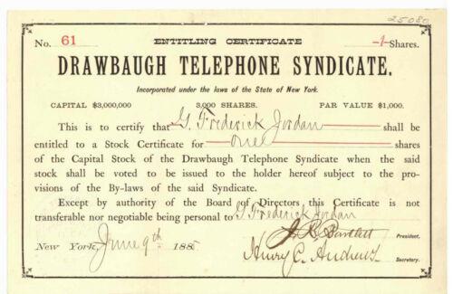 Drawbaugh Telephone Syndicate. Stock Certificate New York. 1885