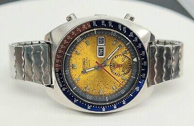 Vintage SEIKO 6139-6002 Automatic Chronograph Mens Watch PEPSI Yellow