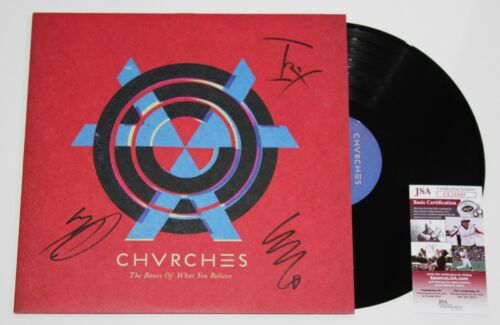 CHVRCHES BAND SIGNED THE BONES OF WHAT YOU BELIEVE LP VINYL RECORD ALBUM JSA COA