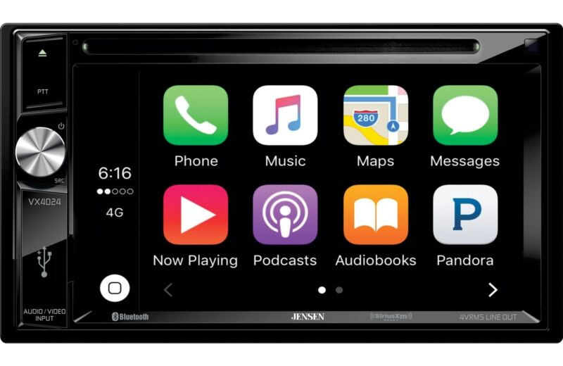"Jensen VX4024 (Factory Refurbished) 6.2"" DVD/CD receiver with Apple CarPlay"