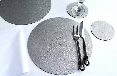 Set 4 ARTISAN Silver Bonded Leather ROUND PLACEMATS & 4 COASTERS, WEDDING, Party
