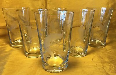 Vtg Set 6 Swedish LARS KJELLANDER Etched Art Glass Tumblers w Animals / Birds
